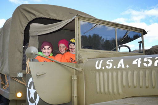 The kids at Barten's Family Pumpkin Farm were more than willing to take a ride in the trucks.