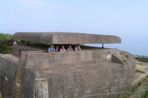 Some of us inside a German range-finding post at the Batterie de Longues Sur Mer.
