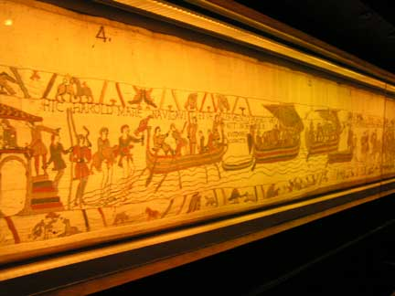 "The 11th century Bayeux Tapestry. Over 200 feet long, it was embroidered by nuns and tells the story of the Norman Conquest of England. (The ""original"" Normandy invasion)"