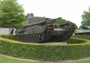 A rare British Churchill tank.