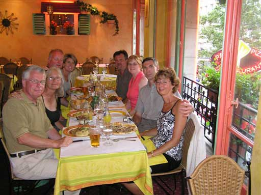 All eight of us enjoying our last dinner in Paris.  Good friends, good food & good times in France. When are we going back?