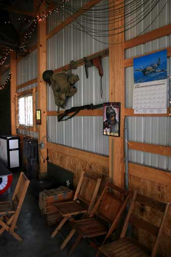 Decor included camo netting, parachutes, a paratrooper manakin and many military collectibles including a 1942 calendar on the wall.