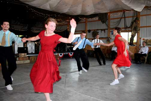 Pam & Mike hired a Big Band and some Swing dancers. Both were a big hit. The dancers gave swing lessons and encouraged guests to get out and dance. And when the band took a break they entertained the crowd with some high energy dance routines.
