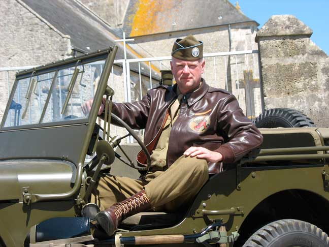 My good friend, Mike in period uniform looking quite snappy. Posing behind the church in St. Come du Mont. Jeep courtesy of Rex Cadman of the War and Peace Show. He graciously let us use it most of the week. THANK YOU REX!!!!!