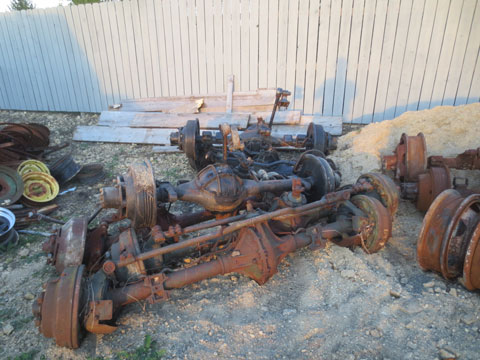 Stopped back by John's place as he is finishing the clean up from the fire. He had set aside some things for me. Spare axles for my CCKW's.