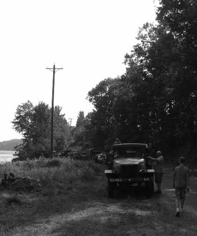 These last photos taken on the convoy were inadvertantly shot in Black & White. They look more like World War II photos. We were in the WC 63 a ways back from the front of the convoy, and still all you could see looking back was OD GREEN. It really is a neat sight to see all these trucks driving like this.