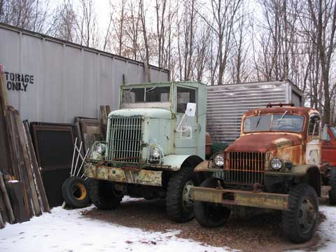 The Autocar Cab over is a nice truck. Not running, but complete. Not rusty either. The 1.5 ton Chevy does not run, but has good sheetmetal. This truck combined with the second one, would make a nice unit.